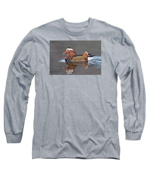 Mandarin Duck Long Sleeve T-Shirt by Alan Lenk