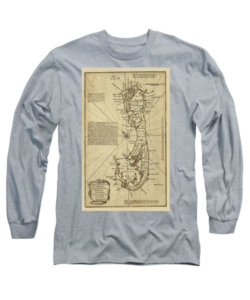 Map Of Bermuda 1750 Long Sleeve T-Shirt by Andrew Fare