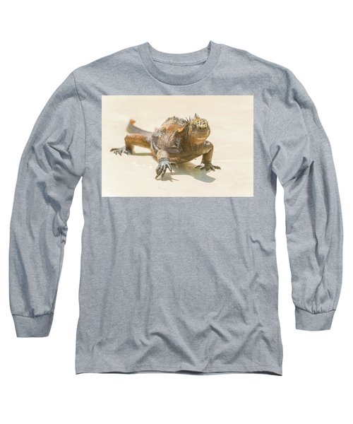 Marine Iguana On Galapagos Islands Long Sleeve T-Shirt by Marek Poplawski