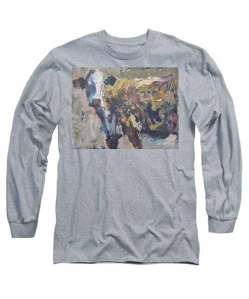 Long Sleeve T-Shirt featuring the painting Modern Abstract Cow Painting by Robert Joyner