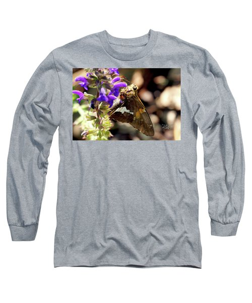 Long Sleeve T-Shirt featuring the photograph Moth On Purple Flower by Meta Gatschenberger