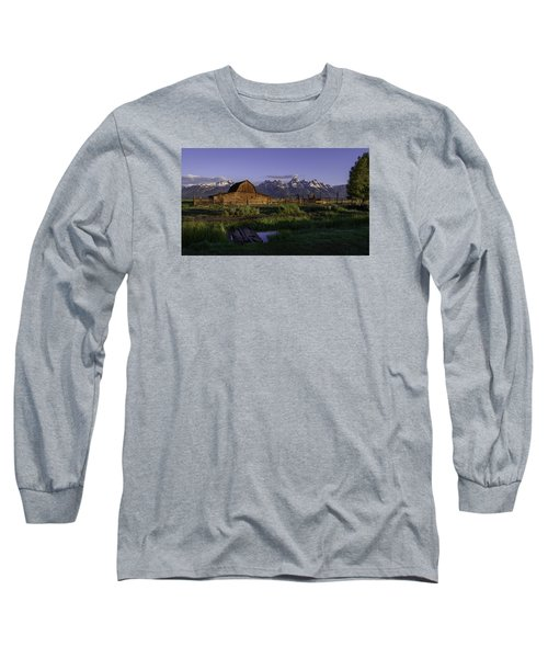 Moulton Barn At Dawn Long Sleeve T-Shirt by Mary Angelini
