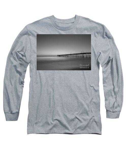 Nags Head Fishing Pier Sunrise Long Sleeve T-Shirt by Michael Ver Sprill