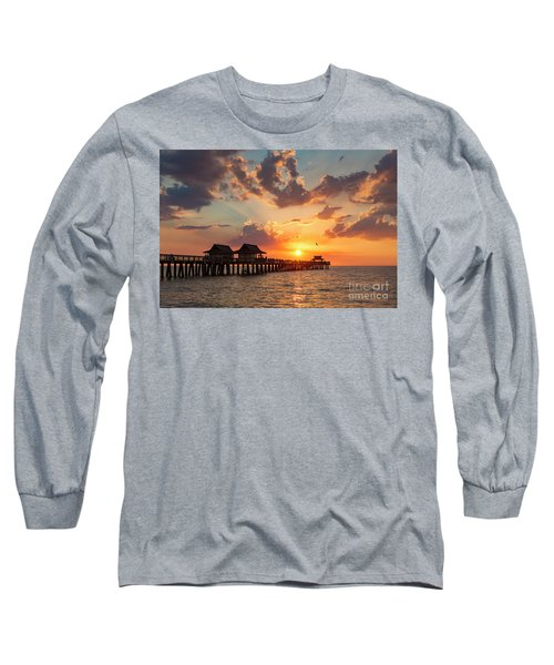 Long Sleeve T-Shirt featuring the photograph Naples Pier At Sunset by Brian Jannsen