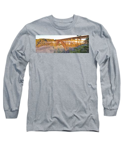New River Gorge Bridge Morning Fall Panorama Long Sleeve T-Shirt