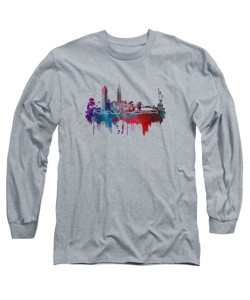 New York City Skyline Blue Long Sleeve T-Shirt by Justyna JBJart