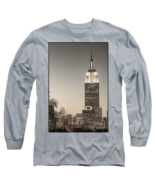 Long Sleeve T-Shirt featuring the photograph New York Empire State Building by Juergen Held