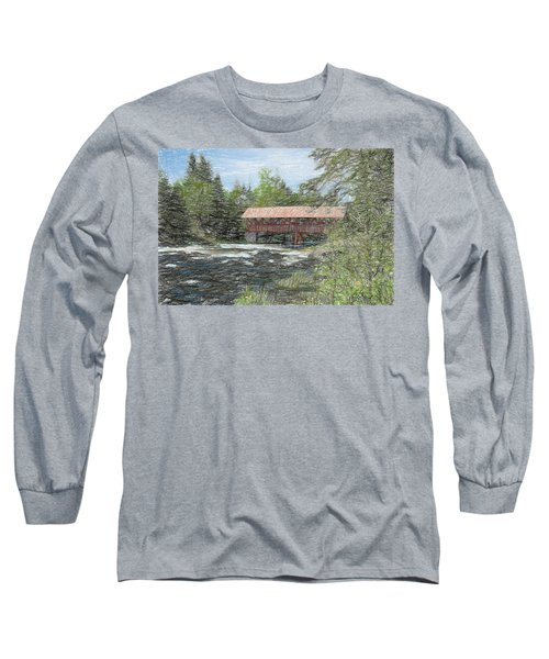 Long Sleeve T-Shirt featuring the digital art North Country Bridge by John Selmer Sr