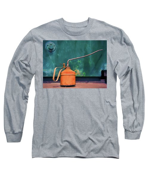Oil Can On The Engine Long Sleeve T-Shirt by Gary Slawsky