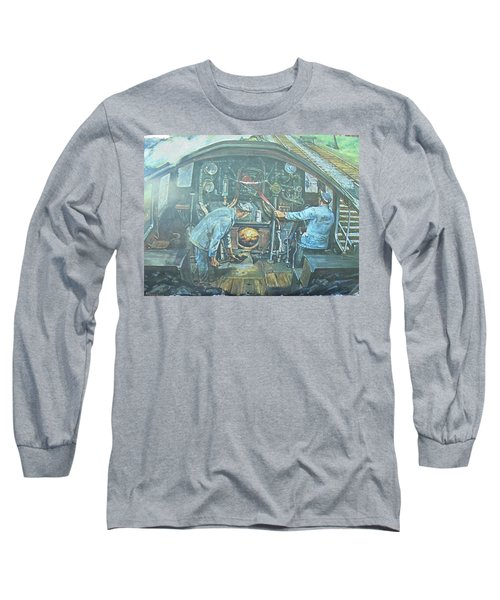 Long Sleeve T-Shirt featuring the painting On The Footplate by Mike Jeffries