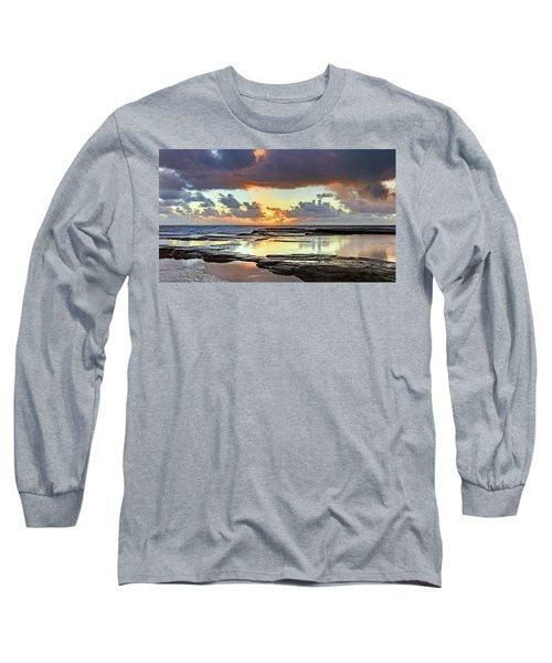 Overcast And Cloudy Sunrise Seascape Long Sleeve T-Shirt