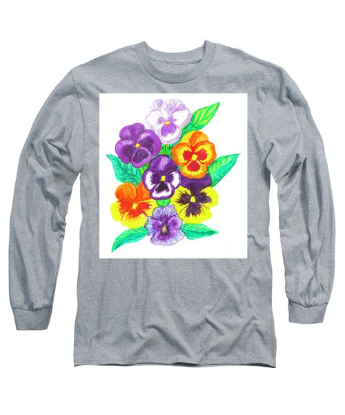 Pansies, Watercolour Painting Long Sleeve T-Shirt