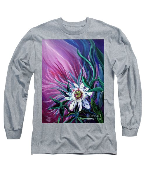 Passion Flower Long Sleeve T-Shirt by Nancy Cupp