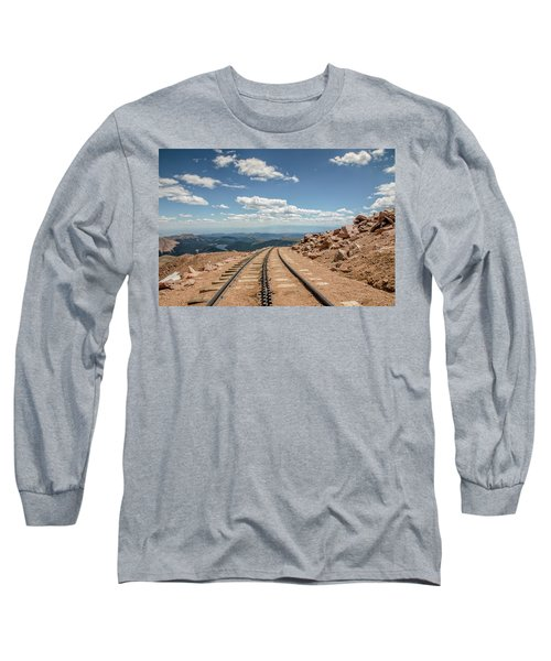 Long Sleeve T-Shirt featuring the photograph Pikes Peak Cog Railway Track At 14,110 Feet by Peter Ciro