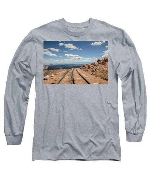 Pikes Peak Cog Railway Track At 14,110 Feet Long Sleeve T-Shirt by Peter Ciro