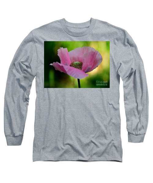 Long Sleeve T-Shirt featuring the photograph Pink Poppy by Lisa L Silva