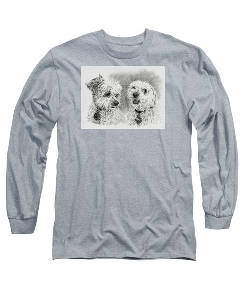 Long Sleeve T-Shirt featuring the drawing Precious Ones  by Terri Mills