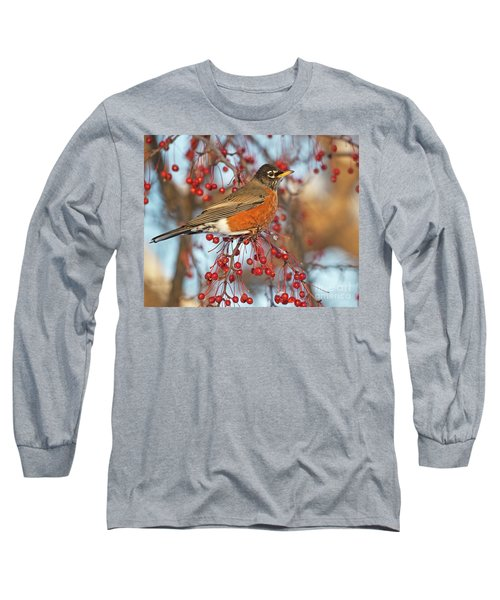 Long Sleeve T-Shirt featuring the photograph Robin.. by Nina Stavlund