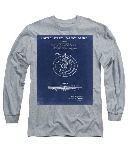 Rolex Watch Patent 1999 In Blue Long Sleeve T-Shirt