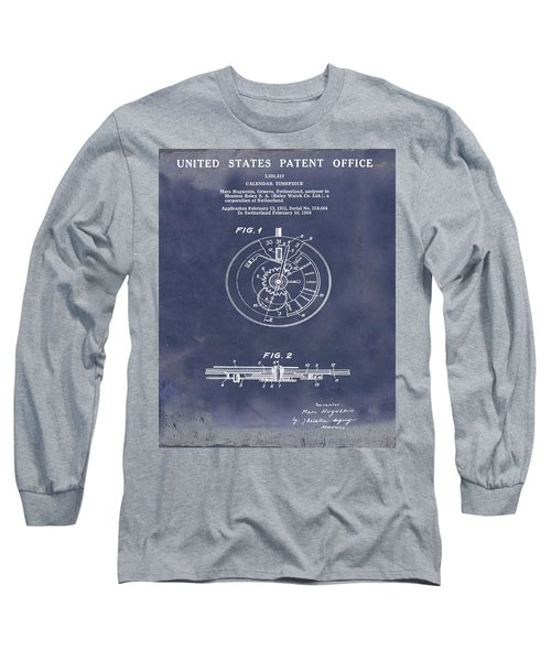 Rolex Watch Patent 1999 In Blue Grunge Long Sleeve T-Shirt