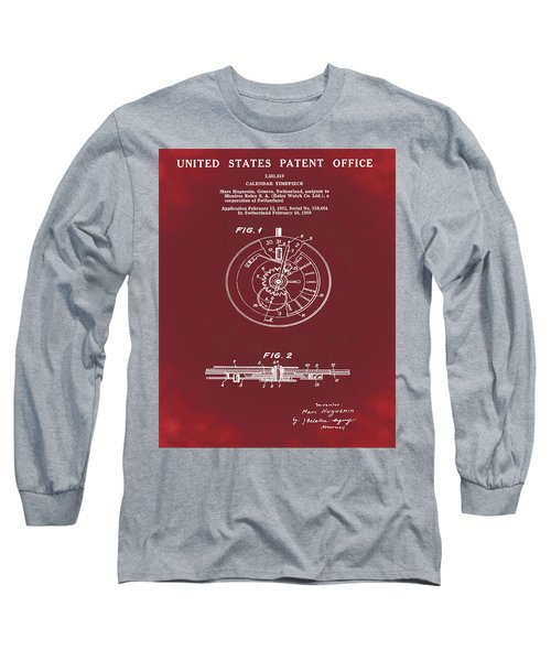 Rolex Watch Patent 1999 In Red Long Sleeve T-Shirt