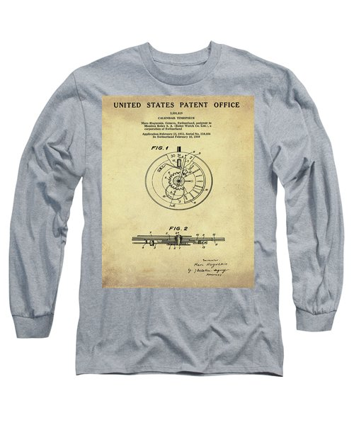 Rolex Watch Patent 1999 In Sepia Long Sleeve T-Shirt