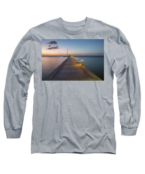 Long Sleeve T-Shirt featuring the photograph Rum Point Pier At Sunset by Adam Romanowicz