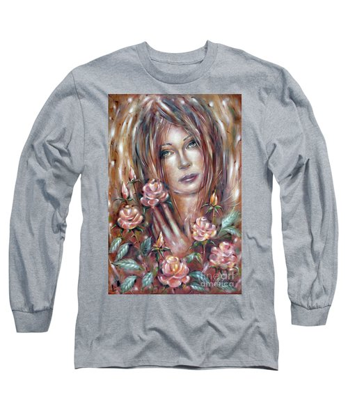 Long Sleeve T-Shirt featuring the painting Sad Venus In A Rose Garden 060609 by Selena Boron