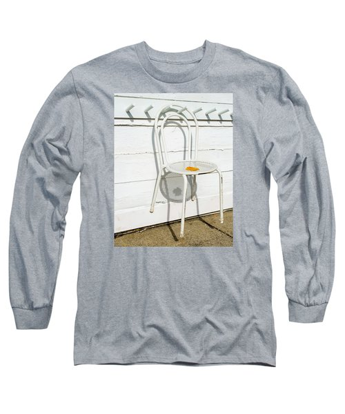 Long Sleeve T-Shirt featuring the photograph Shadows Of Suspended White Chair And Autumn Leaf by Gary Slawsky