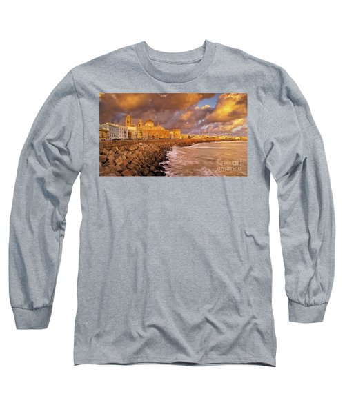 Skyline From Campo Del Sur Cadiz Spain Long Sleeve T-Shirt
