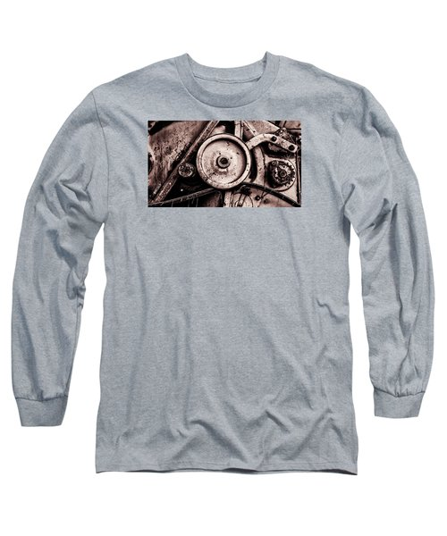 Soviet Ussr Combine Harvester Abstract Cogs In Monochrome Long Sleeve T-Shirt by John Williams