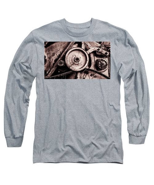 Soviet Ussr Combine Harvester Abstract Cogs In Monochrome Long Sleeve T-Shirt