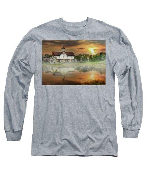 Long Sleeve T-Shirt featuring the mixed media Star Barn Sunrise by Lori Deiter