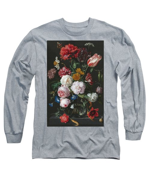 Still Life With Flowers In A Glass Vase Long Sleeve T-Shirt
