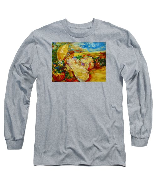 Long Sleeve T-Shirt featuring the painting Sun Set by Emery Franklin