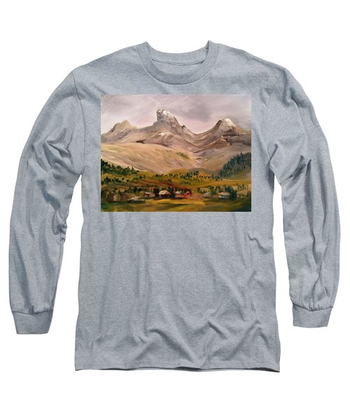 Tetons From The West Long Sleeve T-Shirt by Larry Hamilton
