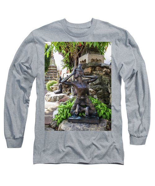 Thai Yoga Statue At Famous Wat Pho Temple Long Sleeve T-Shirt