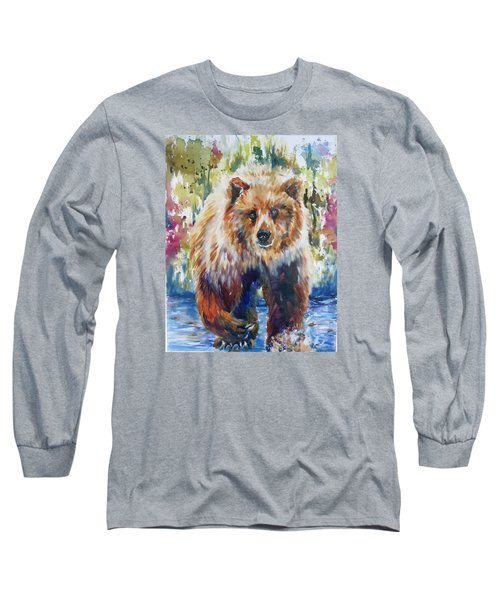 Long Sleeve T-Shirt featuring the painting The Summer Bear by P Maure Bausch
