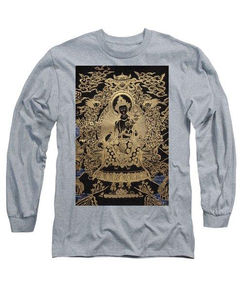 Tibetan Thangka  - Maitreya Buddha Long Sleeve T-Shirt by Serge Averbukh