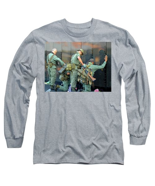 Long Sleeve T-Shirt featuring the photograph Veterans At Vietnam Wall by Carolyn Marshall