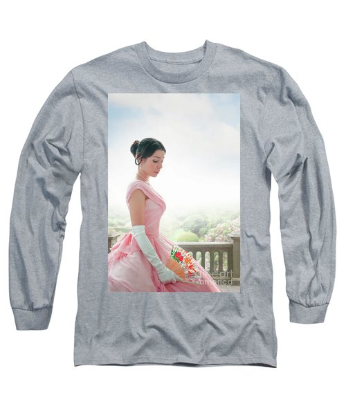 Victorian Woman In A Pink Ball Gown Long Sleeve T-Shirt by Lee Avison