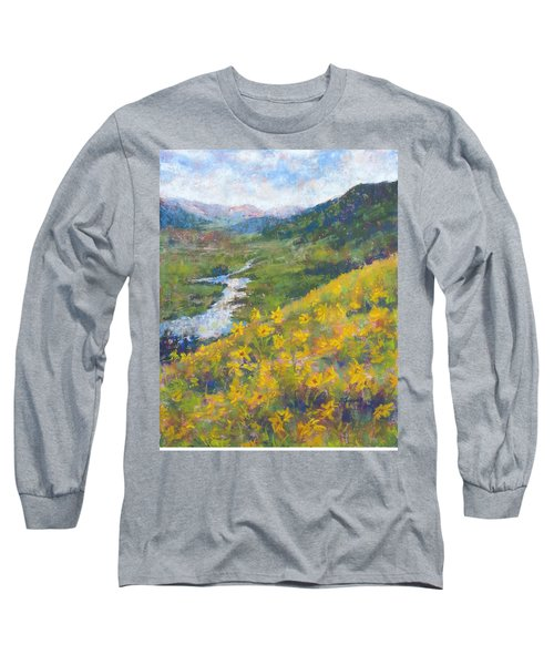 View From Baxters Gulch Long Sleeve T-Shirt by Becky Chappell