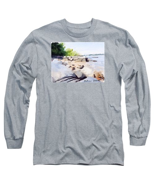Wall And Beach At Ten Pound Island Long Sleeve T-Shirt