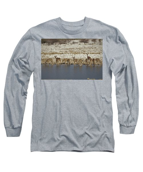 Long Sleeve T-Shirt featuring the digital art Waterhole Kudu by Ernie Echols