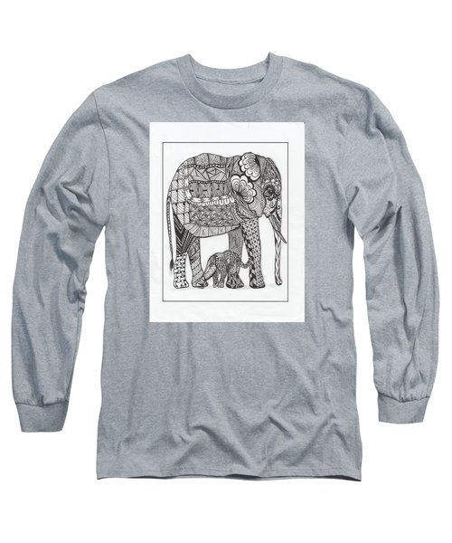 White Elephant And Baby Long Sleeve T-Shirt by Kathy Sheeran
