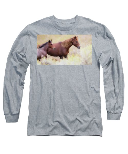 Long Sleeve T-Shirt featuring the photograph Wild Horses  by Kelly Marquardt