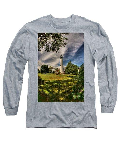 Wind Point Lighthouse Long Sleeve T-Shirt by David Bearden