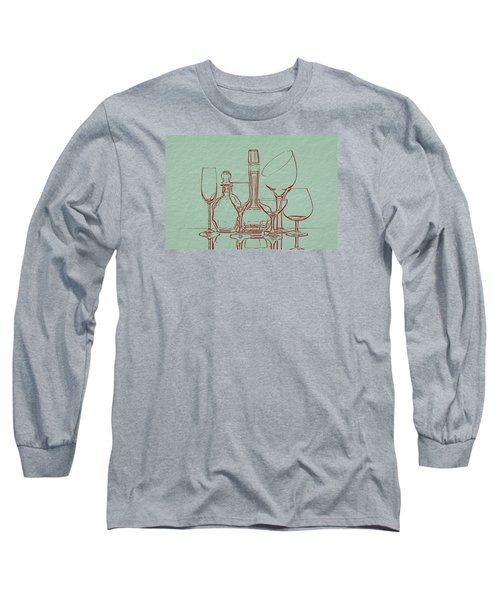 Wine Decanters With Glasses Long Sleeve T-Shirt by Tom Mc Nemar