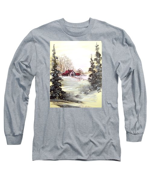Long Sleeve T-Shirt featuring the painting Winter Landscape by Dorothy Maier
