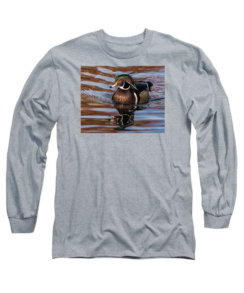 Long Sleeve T-Shirt featuring the photograph Wood Duck Reflections by Stephen Johnson